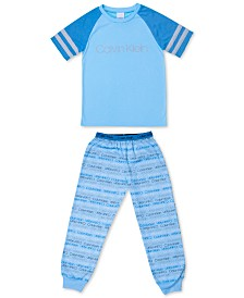 Calvin Klein Big Boys 2-Pc. Logo-Print Pajama Set