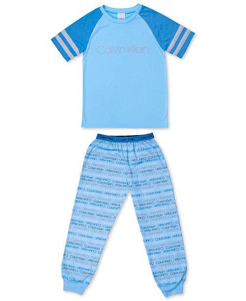 Calvin Klein Big Boys 2-Pc. Logo-Print Pajama Set