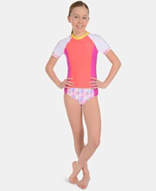 Calvin Klein Big Girls 2-Pc. Colorblocked Rash Guard Swimsuit