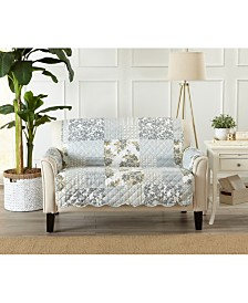 Patchwork Scalloped Printed Reversible Loveseat Furniture Protector