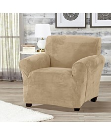 Solid Velvet Plush Form Fit Stretch Chair Slipcover