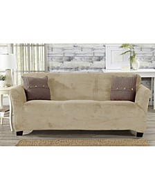 Solid Velvet Plush Form Fit Stretch Sofa Slipcover