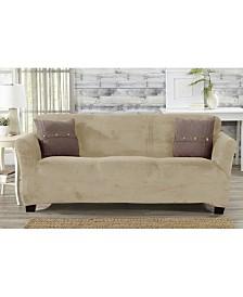 Solid Velvet Plush Form Fit Stretch Sofa Slipcover
