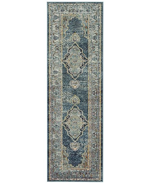 """Safavieh Crystal Blue and Yellow 2'2"""" x 9' Runner Area Rug"""