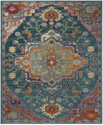 Crystal Teal and Rose 5' x 5' Square Area Rug
