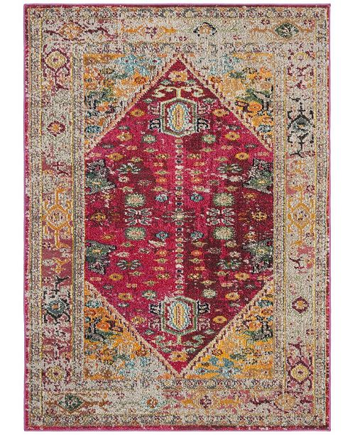 "Safavieh Monaco Fuchsia and Light Gray 5'1"" x 7'7"" Area Rug"