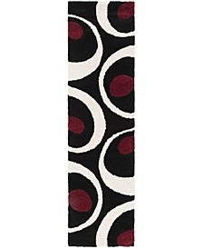 """Shag Black and Ivory 2'3"""" x 8' Runner Area Rug"""