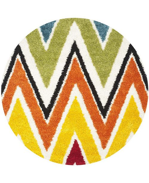 "Safavieh Shag Kids Ivory and Multi 6'7"" x 6'7"" Round Area Rug"