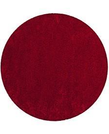 "Santa Monica Shag Red 6'7"" X 6'7"" Round Area Rug"