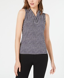 Anne Klein Dot-Print Pleat-Neck Top