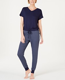 Alfani Short-Sleeve Top and Jogger Pants Sleep Separates, Created for Macy's