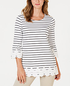 Charter Club Petite Striped Lace Top, Created for Macy's