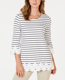 Charter Club Striped Lace-Trim Top, Created for Macy's