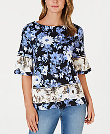 Charter Club Floral-Print Ruffled-Sleeve Top, Created for Macy's