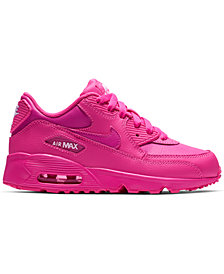 Nike Little Girls' Air Max 90 Leather Running Sneakers from Finish Line