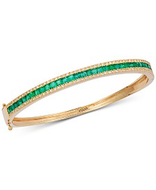 EFFY® Emerald (2-1/2 ct. t.w.) & Diamond (3/8 ct. t.w.) Link Bracelet in 14k Gold