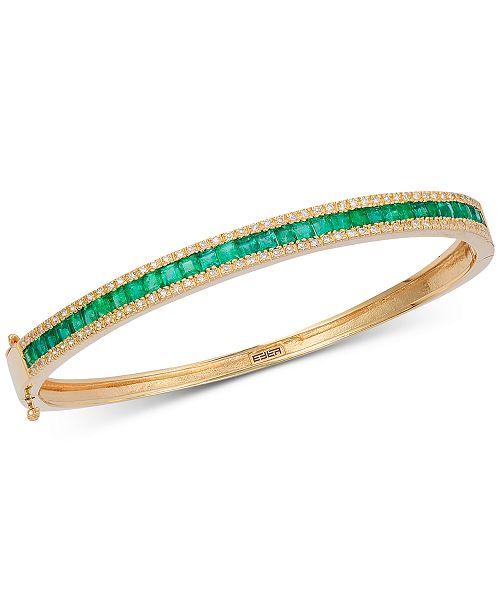 EFFY Collection EFFY® Emerald (2-1/2 ct. t.w.) & Diamond (3/8 ct. t.w.) Link Bracelet in 14k Gold