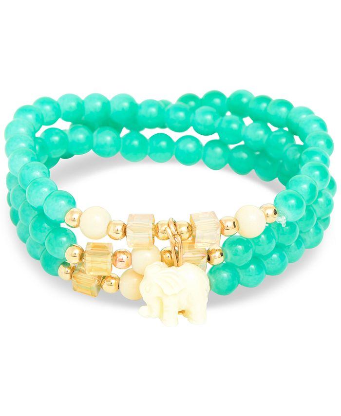 Zenzii - Gold-Tone Elephant Charm Beaded Multi-Row Bracelet