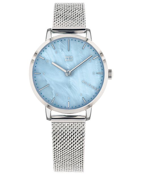 Tommy Hilfiger Women's  Stainless Steel Mesh Bracelet Watch 30mm  Created For Macy's
