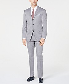 Men's Slim-Fit Stretch Wrinkle-Resistant Light Gray Windowpane Suit