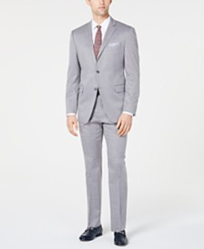 Perry Ellis Men's Slim-Fit Stretch Wrinkle-Resistant Light Gray Windowpane Suit