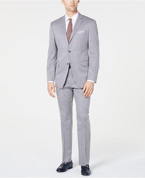 Perry Ellis Men's Slim-Fit Stretch Wrinkle-Resistant Light Gray Windowpane Suit