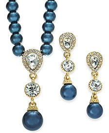 Cubic Zirconia and Imitation Pearl Lariat Necklace & Drop Earrings Boxed Set, Created for Macy's