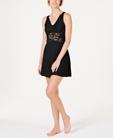 I.N.C. Ultra Soft Lace Mesh Detail Knit Chemise, Created for Macy's