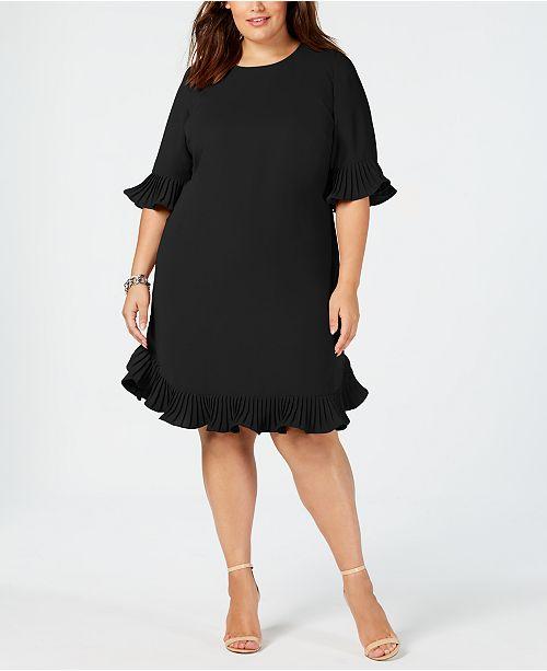 Alfani Plus Size Pleated Flounce Dress, Created for Macy's