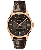 d540f86af03 Tissot Women s Swiss Automatic T-Classic Chemin des Tourelles Brown Leather  Strap Watch 32mm