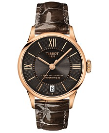 Tissot Women's Swiss Automatic T-Classic Chemin des Tourelles Brown Leather Strap Watch 32mm