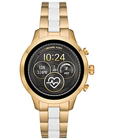 Michael Kors Access Women's Runway Gold-Tone Stainless Steel & White Silicone Bracelet Touchscreen Smart Watch 41mm