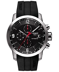 Men's Swiss Automatic Chronograph T-Sport PRC 200 Black Silicone Strap Watch 43mm