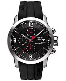 Tissot Men's Swiss Automatic Chronograph T-Sport PRC 200 Black Silicone Strap Watch 43mm