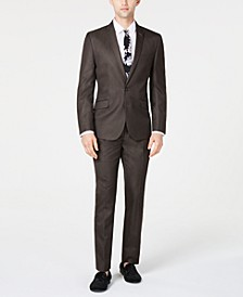 Men's Slim-Fit Brown Sharkskin Suit