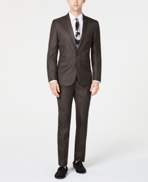 Billy London Men's Slim-Fit Brown Sharkskin Suit