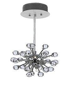 Modern 6-Light Chrome Pendant with Crystal Balls