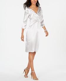 Adrianna Papell Twist-Front Satin Sheath Dress
