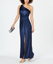 Adrianna Papell One-Shoulder Metallic Gown