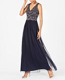 Petite Beaded-Bodice Gown