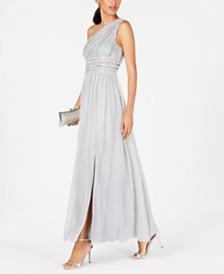 Adrianna Papell One-Shoulder Beaded Lace Gown