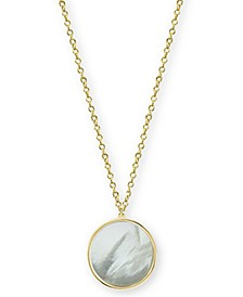 "Mother-of-Pearl Disc Pendant Necklace in Gold-Plated Sterling Silver, 17"" + 1"" extender"