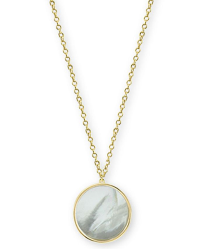 """Argento Vivo - Mother-of-Pearl Disc Pendant Necklace in Gold-Plated Sterling Silver, 17"""" + 1"""" extender"""