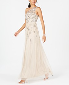 Adrianna Papell One-Shoulder Beaded Gown
