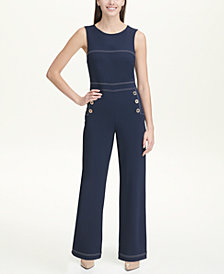 Tommy Hilfiger Scuba Crepe Jumpsuit with Topstitching