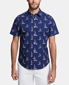 Nautica Men's Big & Tall Boat-Print Graphic Shirt