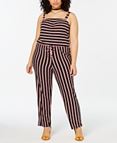 577c2db6f08 Planet Gold Trendy Plus Size Striped Jumpsuit
