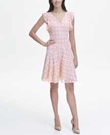 Tommy Hilfiger Starboard Lace Fit and Flare Flutter Sleeve Dress