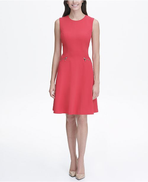 Tommy Hilfiger Petite Fit and Flare with Zipper Pockets Dress