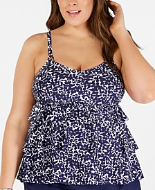 Island Escape Plus Size Triple-Tiered Tankini Top, Created for Macy's